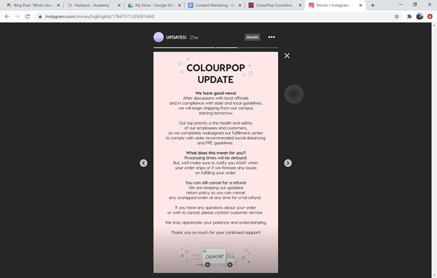 Colourpop Cosmetics Proactive social media response post example